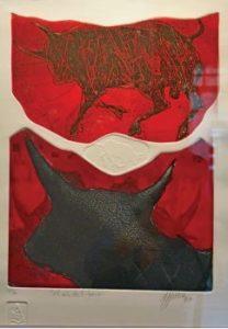 """""""El año del Toro"""", realizada en 1997, es otra de las piezas en agua fuerte que se exponen en el Museo."""